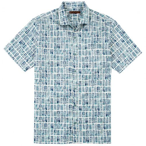 Men's Tori Richard Brown Label Cotton Lawn Relaxed Fit Short Sleeve Shirt, Block Tiles #MG09 Natural