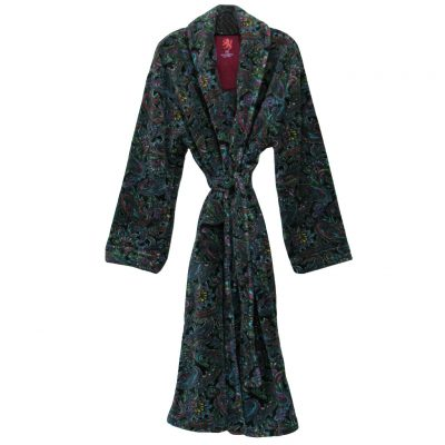 Vintage By Majestic International Posh Plush Fleece Shawl Collar Robe, Black Multi Paisley