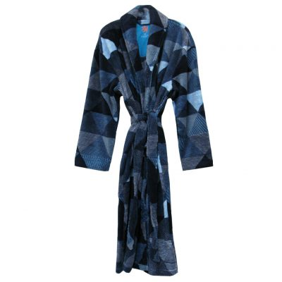 Vintage By Majestic International Posh Plush Fleece Shawl Collar Robe, Navy Diamonds