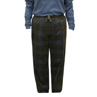 Men's Basic Options Corduroy Yarn Dyed Plaid Lounge Pants, #41043-13C Blue/Brown