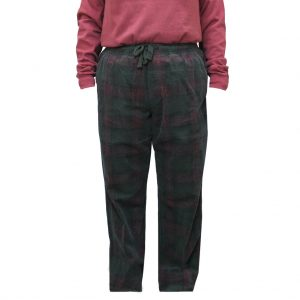 Men's Basic Options Corduroy Yarn Dyed Plaid Lounge Pants, #41043-14A Loden/Burgundy