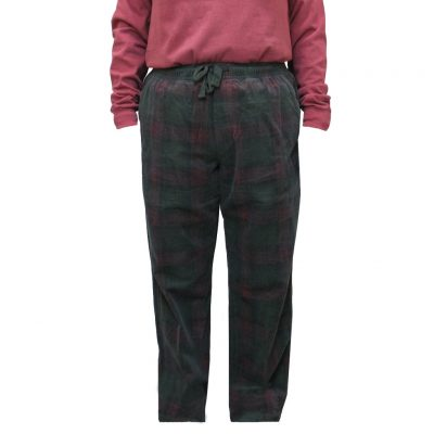 Men's Basic Options Corduroy Yarn Dyed Plaid Lounge Pants, #41043-A Loden / Burgundy