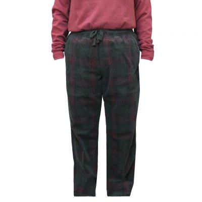 Men's Basic Options Corduroy Yarn Dyed Plaid Lounge Pants, #41043-A Loden / Burgundy