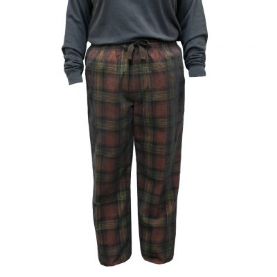 Men's Basic Options Corduroy Yarn Dyed Plaid Lounge Pants, #41043-15A Sunset/Black
