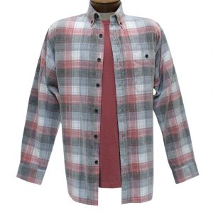 Men's Basic Options Corduroy Long Sleeve Yarn Dyed Tartan Plaid Shirt, #81940-45B Red/Grey/White (SOLD OUT!)