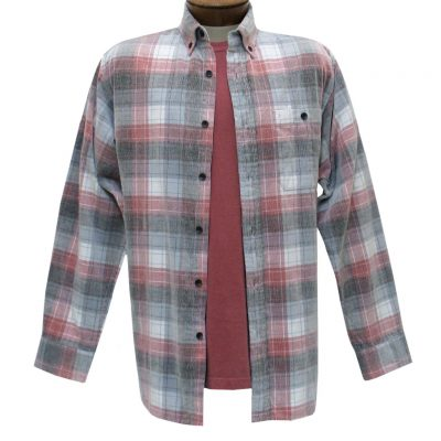 Men's Basic Options Corduroy Long Sleeve Yarn Dyed Tartan Plaid Shirt, #81940-45B Red/Grey/White