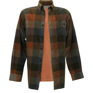 Men's Basic Options Corduroy Long Sleeve Yarn Dyed Plaid Shirt, #81948-23A Tan/Blue/Orange