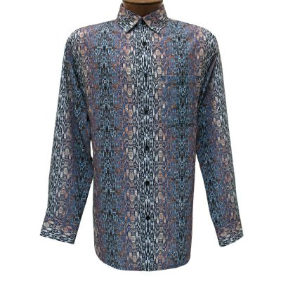 Men's Bassiri Long Sleeve Button Front Pocketed Microfiber Sport Shirt #6285 Multi