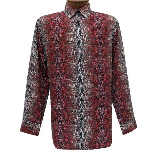 Men's Bassiri Long Sleeve Button Front Pocketed Microfiber Sport Shirt #6286 Red
