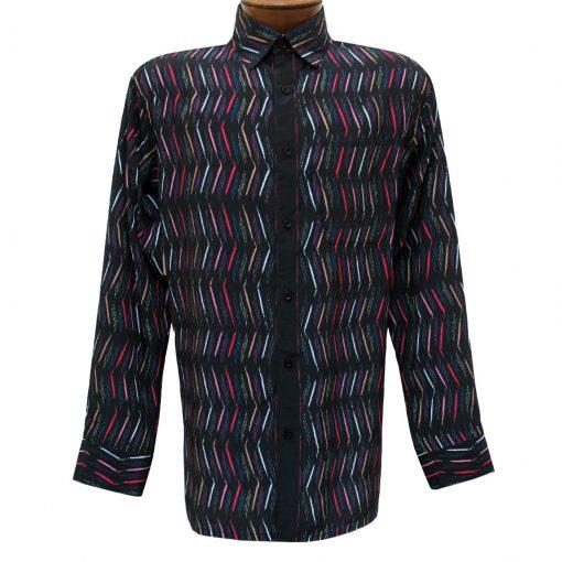 Men's Bassiri Long Sleeve Button Front Pocketed Microfiber Sport Shirt #6295 Black