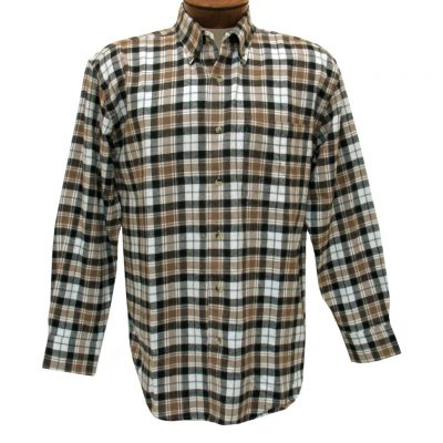 Men's Woodland Trail By Palmland Long Sleeve 100% Cotton Plaid Flannel Shirt #5900-105 Khaki