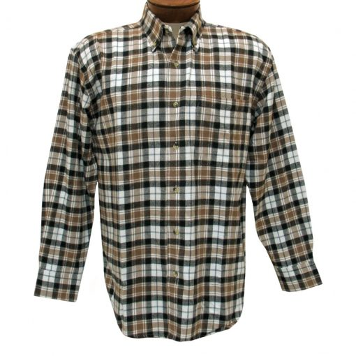 Men's Woodland Trail By Palmland Long Sleeve 100% Cotton Plaid Flannel Shirt #5900-105 Khaki