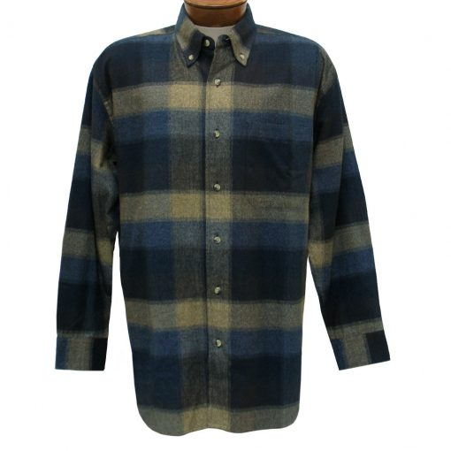 Men's Woodland Trail By Palmland Long Sleeve 100% Cotton Plaid Flannel Shirt #5900-106 Mocha
