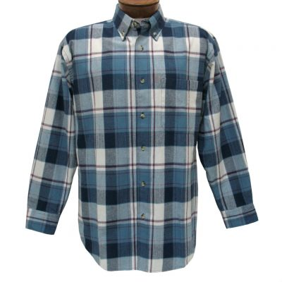 Men's Woodland Trail By Palmland Long Sleeve 100% Cotton Plaid Flannel Shirt #5900-109 Blue