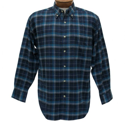 Men's Woodland Trail By Palmland Long Sleeve 100% Cotton Plaid Flannel Shirt #5900-110 Navy