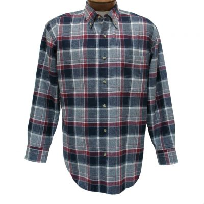 Men's Woodland Trail By Palmland Long Sleeve 100% Cotton Plaid Flannel Shirt #5900-112 Wine