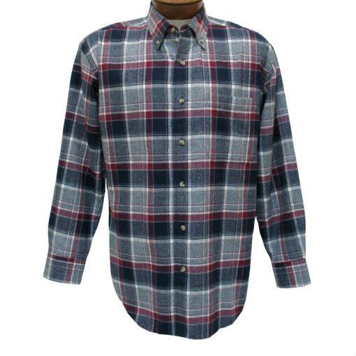 Men's Woodland Trail By Palmland Long Sleeve 100% Cotton Plaid Flannel Shirt #5900-112 Wine