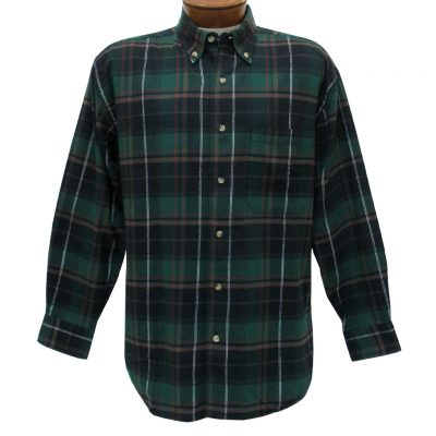Men's Woodland Trail By Palmland Long Sleeve 100% Cotton Plaid Flannel Shirt #5900-115 Hunter