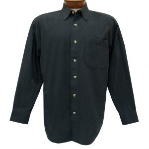 Men's Woodland Trail By Palmland Long Sleeve 100% Cotton Solid Chamois Shirt #5900-100 Charcoal Heather