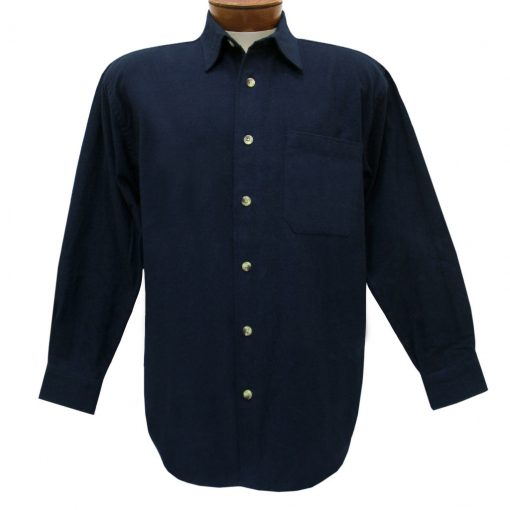 Men's Woodland Trail By Palmland Long Sleeve 100% Cotton Solid Chamois Shirt #5900-100 Navy Heather