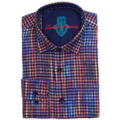 Men's Luchiano Visconti Sport Edition Abstract Checkered Printed Long Sleeve Woven Sport Shirt, #4182 Multi