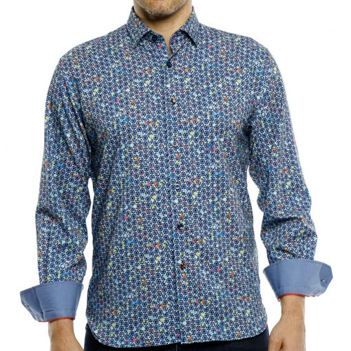 Men's Luchiano Visconti Sport Edition Abstract Printed Long Sleeve Sport Shirt, #4147 Blue Multi