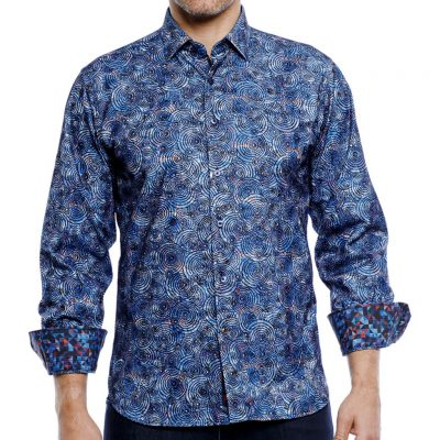 Men's Luchiano Visconti Sport Edition Flock Circles Printed Long Sleeve Woven Sport Shirt, #4183A Blue Multi