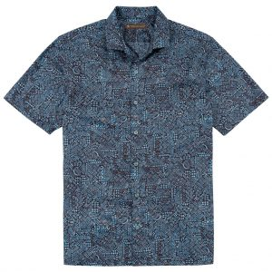 Men's Tori Richard Brown Label Cotton Lawn Relaxed Fit Short Sleeve Shirt, Geo-Ethnic #MG12 Blue (SOLD OUT!)