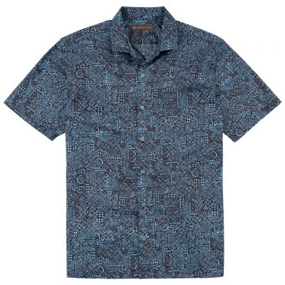 Men's Tori Richard Brown Label Cotton Lawn Relaxed Fit Short Sleeve Shirt, Geo Ethnic #MG12 Blue