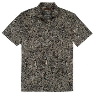 Men's Tori Richard Brown Label Cotton Lawn Relaxed Fit Short Sleeve Shirt, Geo-Ethnic #MG12 Tan (L, ONLY!)
