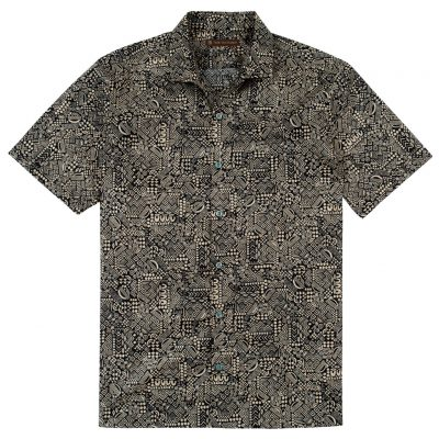 Men's Tori Richard Brown Label Cotton Lawn Relaxed Fit Short Sleeve Shirt, Geo-Ethnic #MG12 Tan