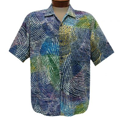 Men's Jams World Short Sleeve Original Crushed Rayon Retro Aloha Shirt, Hibiki