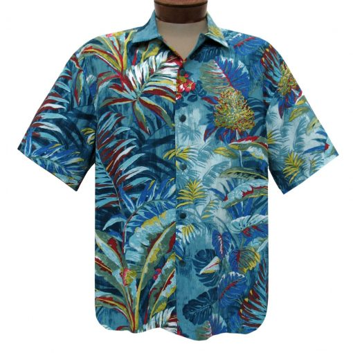 Men's Jams World Short Sleeve Original Crushed Rayon Retro Aloha Shirt, Kamuela