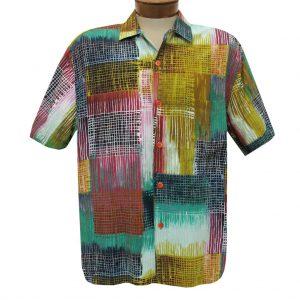 Men's Jams World Short Sleeve Original Crushed Rayon Retro Aloha Shirt, Network