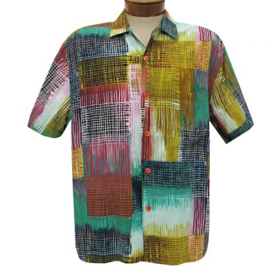 Men's Jams World Short Sleeve Original Crushed Rayon Retro Aloha Shirt, Network
