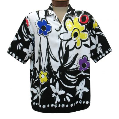Men's Jams World Short Sleeve Original Crushed Rayon Retro Aloha Shirt, Shadow Garden