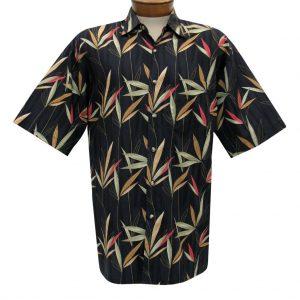 Men's Bamboo Cay Short Sleeve Cotton Sateen Shirt, Larissa Bamboos #CM800 Black (XL & XXL, ONLY!)