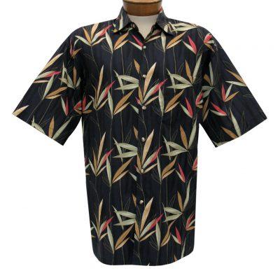 Men's Bamboo Cay Short Sleeve Cotton Sateen Shirt, Larissa Bamboos #CM800 Black