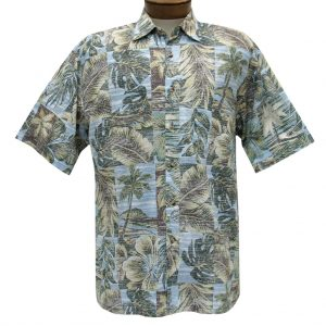 Men's Bamboo Cay Short Sleeve Cotton Sateen Shirt, Palm Island #CM200 Pacific Fusion (XK & XXL, ONLY!)