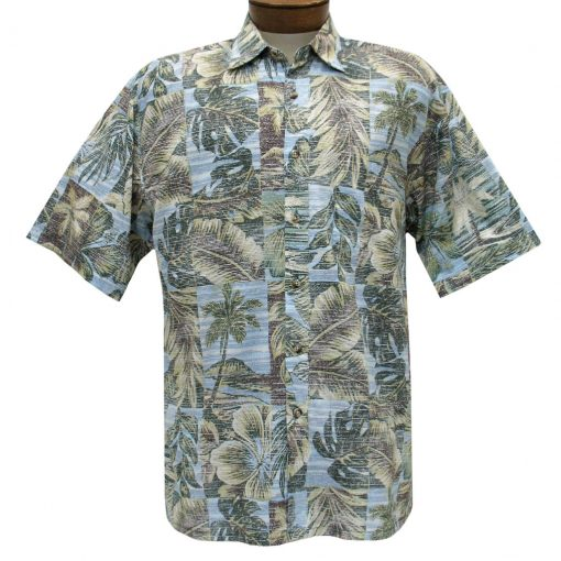 Men's Bamboo Cay Short Sleeve Cotton Sateen Shirt, Palm Island #CM200 Pacific Fusion