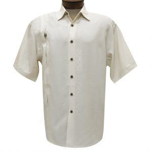 Men's Bamboo Cay Short Sleeve Embroidered Camp Shirt, Discover Hidden Palms #WB1500B Seed Pearl