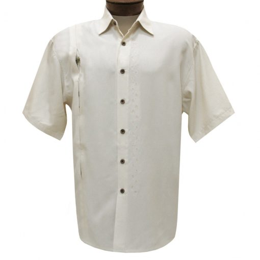 Men's Bamboo Cay Short Sleeve Embroidered Camp Shirt, Discover Hidden Palms #WB1500B Seedpearl