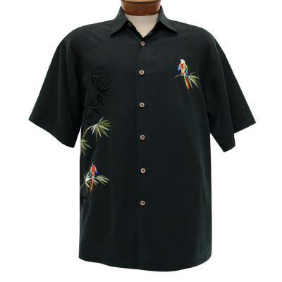 Men's Bamboo Cay Short Sleeve Embroidered Camp Shirt, Flying Parrots #WB1916 Black