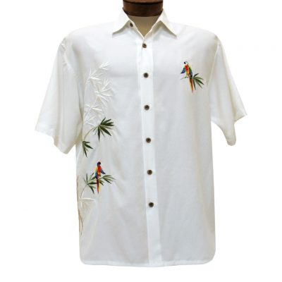 Men's Bamboo Cay Short Sleeve Embroidered Camp Shirt, Flying Parrots #WB1916 Off White