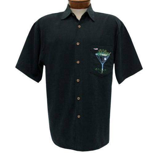 Men's Bamboo Cay Short Sleeve Embroidered Camp Shirt, Par And Bar #WB777 Black