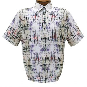 Men's Short Sleeve Microfiber Banded Bottom Shirt By Bassiri, Our Exclusive Handpicked Designs, #39465 Cream Multi