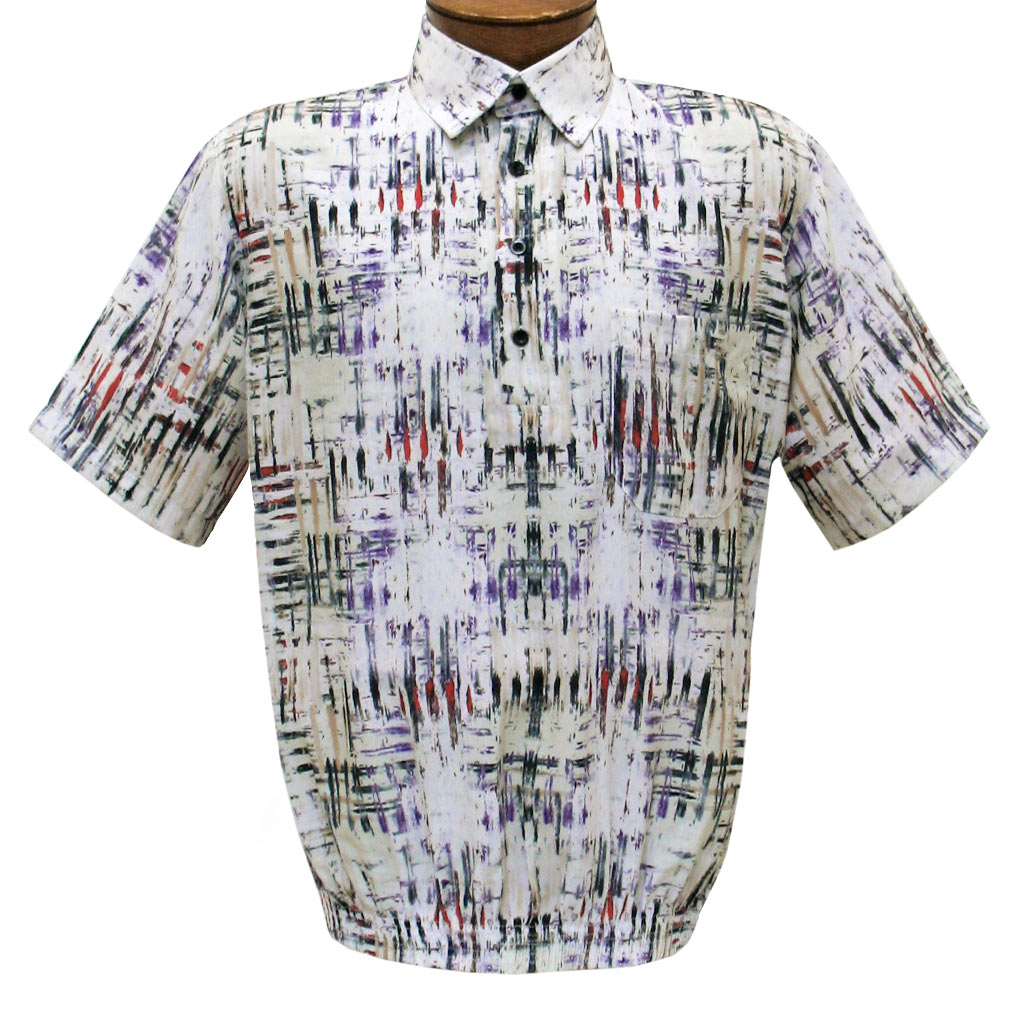 Men's Short Sleeve Banded Bottom Shirt By Bassiri, Our Exclusive 2020 Handpicked Designs, #39465 Cream Multi