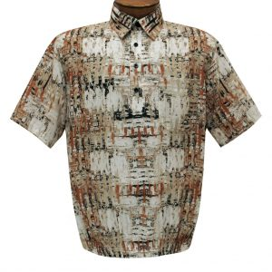 Men's Short Sleeve Microfiber Banded Bottom Shirt By Bassiri, Our Exclusive Handpicked Designs, #39505 Beige(L & XL, ONLY!)