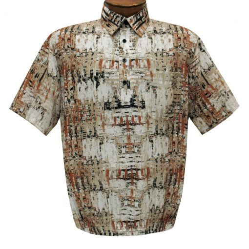 Men's Short Sleeve Banded Bottom Shirt By Bassiri, Our Exclusive 2020 Handpicked Designs, #39505 Beige