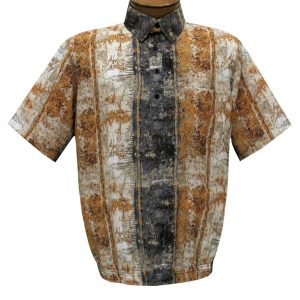 Men's Short Sleeve Microfiber Banded Bottom Shirt By Bassiri, Our Exclusive Handpicked Designs, #39955 Beige
